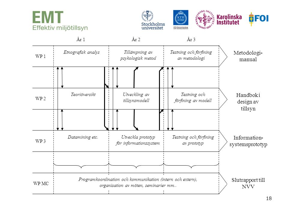 18 WP 1 Etnografisk analysTillämpning av psykologisk metod Testning och förfining av metodologi WP 2 TeoriöversiktUtveckling av tillsynsmodell Testnin