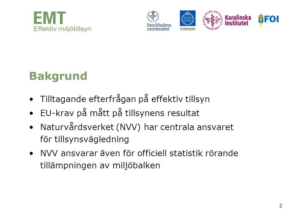 2 Bakgrund •Tilltagande efterfrågan på effektiv tillsyn •EU-krav på mått på tillsynens resultat •Naturvårdsverket (NVV) har centrala ansvaret för till