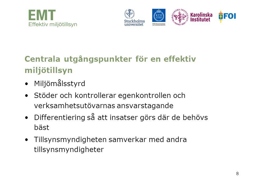 8 Centrala utgångspunkter för en effektiv miljötillsyn •Miljömålsstyrd •Stöder och kontrollerar egenkontrollen och verksamhetsutövarnas ansvarstagande