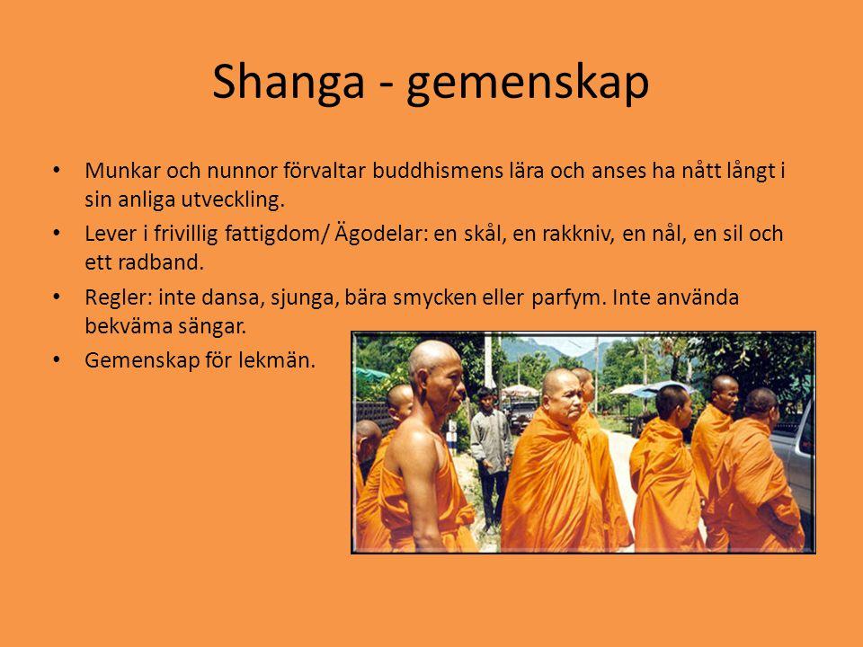 Shanga - gemenskap • Munkar och nunnor förvaltar buddhismens lära och anses ha nått långt i sin anliga utveckling. • Lever i frivillig fattigdom/ Ägod