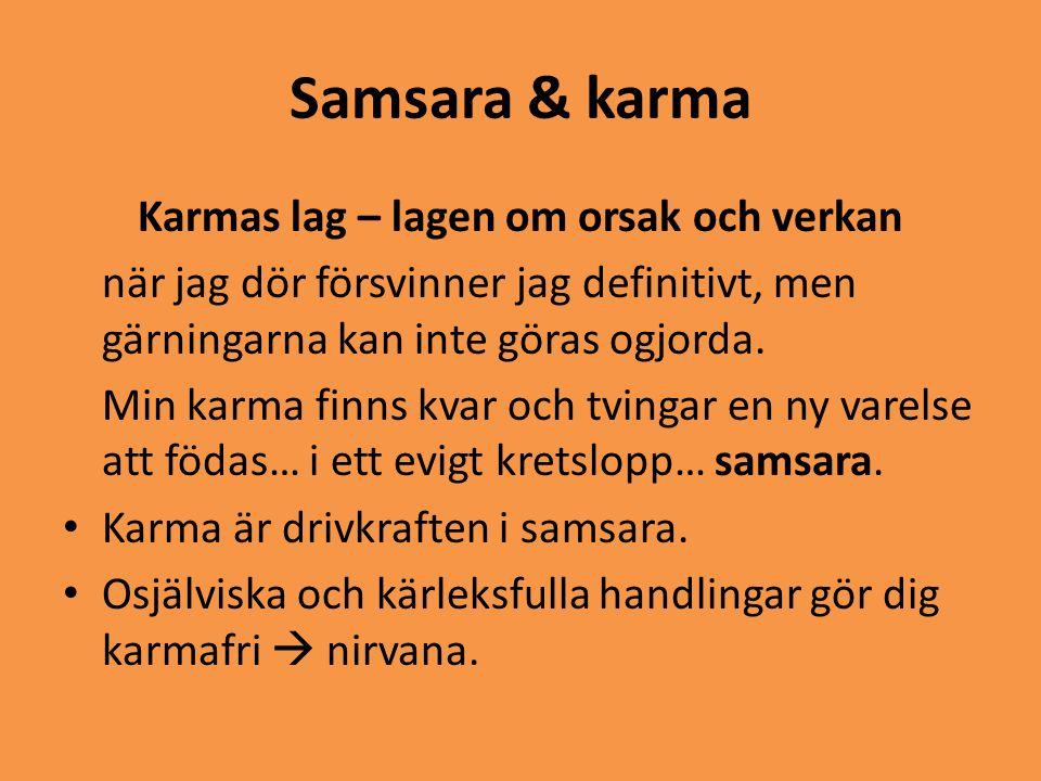 Samsara & karma Karmas lag – lagen om orsak och verkan när jag dör försvinner jag definitivt, men gärningarna kan inte göras ogjorda. Min karma finns