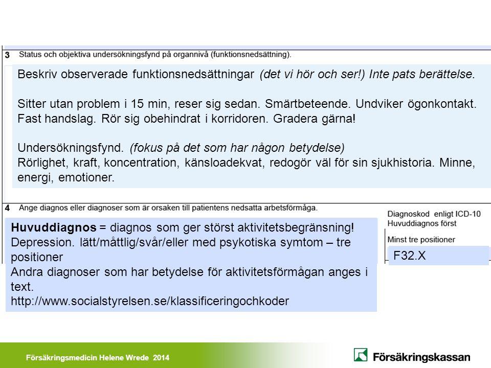 Försäkringsmedicin Helene Wrede 2014 Beskriv observerade funktionsnedsättningar (det vi hör och ser!) Inte pats berättelse. Sitter utan problem i 15 m
