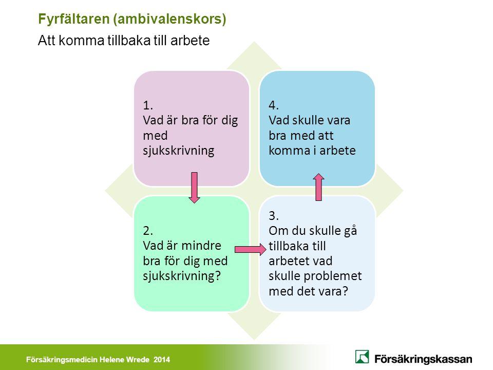 Försäkringsmedicin Helene Wrede 2014 Fyrfältaren (ambivalenskors) Att komma tillbaka till arbete 1. Vad är bra för dig med sjukskrivning 4. Vad skulle