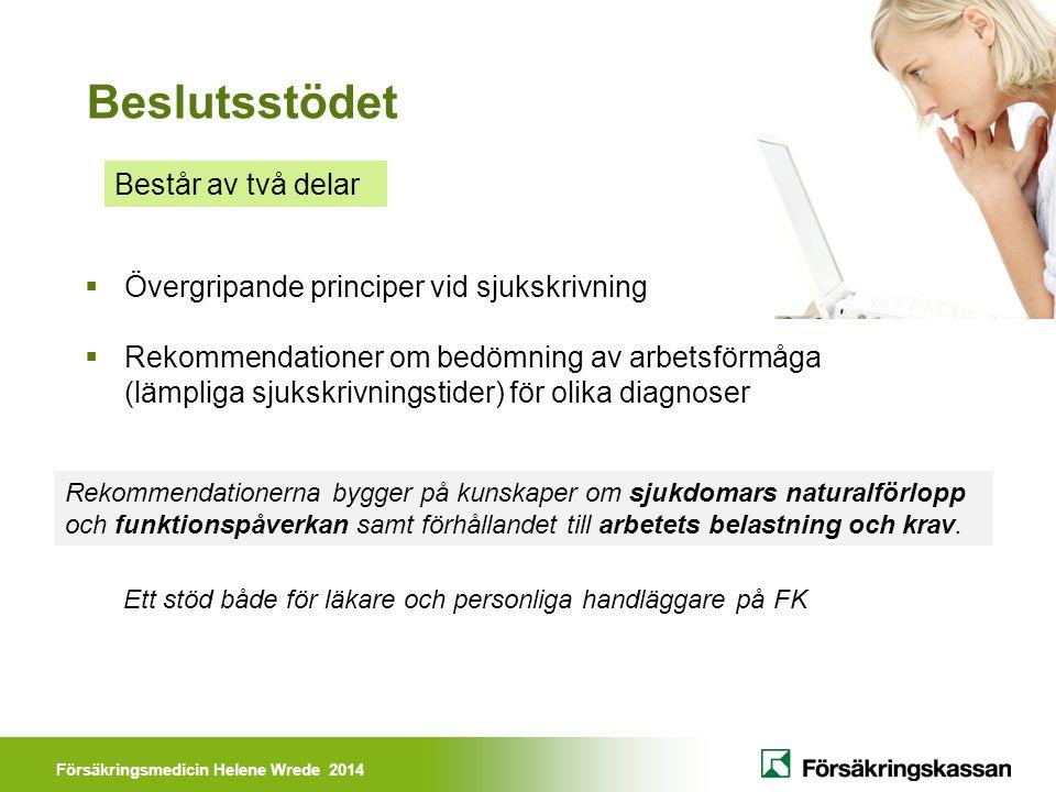Försäkringsmedicin Helene Wrede 2014 Beslutsstödet Består av två delar Rekommendationerna bygger på kunskaper om sjukdomars naturalförlopp och funktionspåverkan samt förhållandet till arbetets belastning och krav.