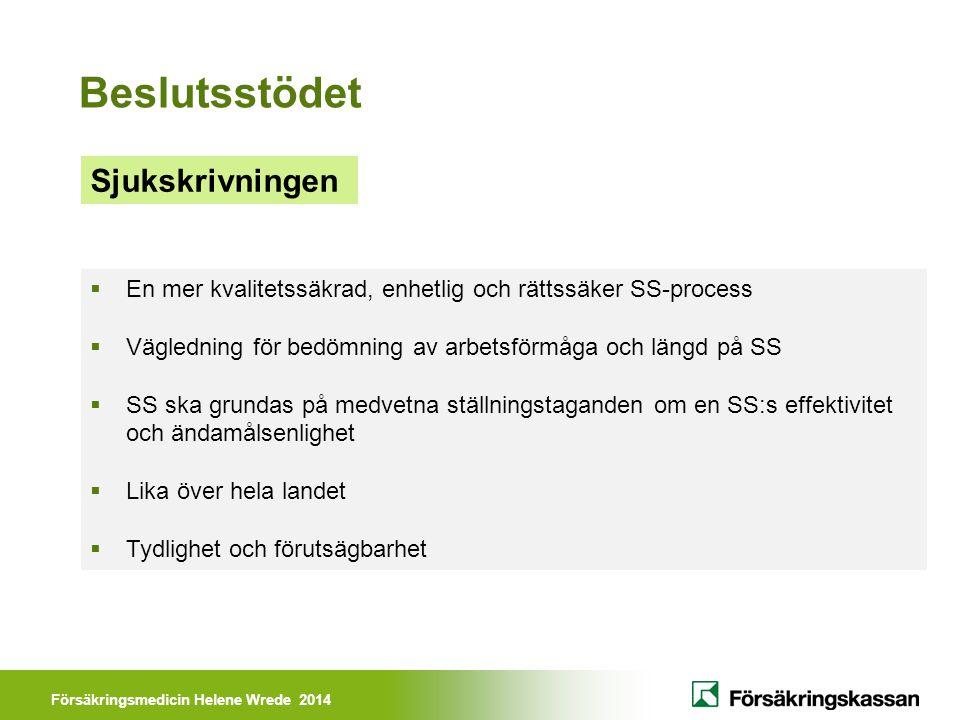 Försäkringsmedicin Helene Wrede 2014 Sjukskrivningen Beslutsstödet  En mer kvalitetssäkrad, enhetlig och rättssäker SS-process  Vägledning för bedöm
