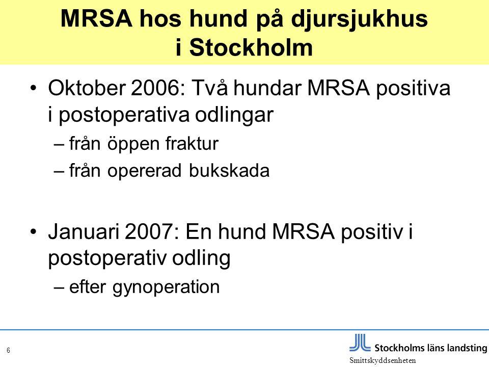 Smittskyddsenheten 6 MRSA hos hund på djursjukhus i Stockholm •Oktober 2006: Två hundar MRSA positiva i postoperativa odlingar –från öppen fraktur –fr