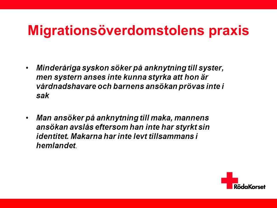 Migrationsöverdomstolens praxis •Minderåriga syskon söker på anknytning till syster, men systern anses inte kunna styrka att hon är vårdnadshavare och