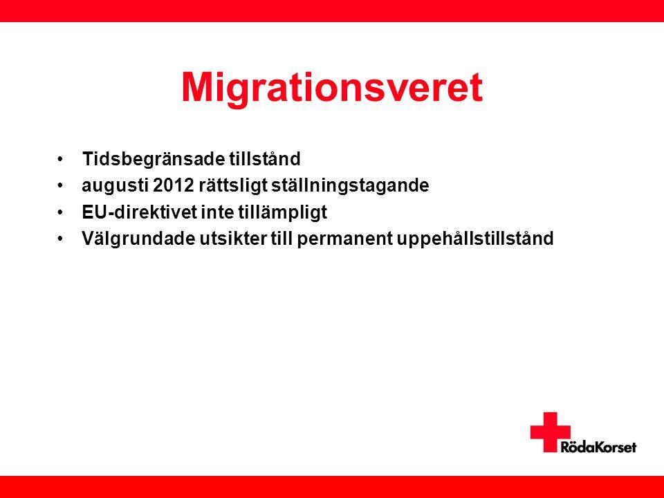 Migrationsveret •Tidsbegränsade tillstånd •augusti 2012 rättsligt ställningstagande •EU-direktivet inte tillämpligt •Välgrundade utsikter till permane