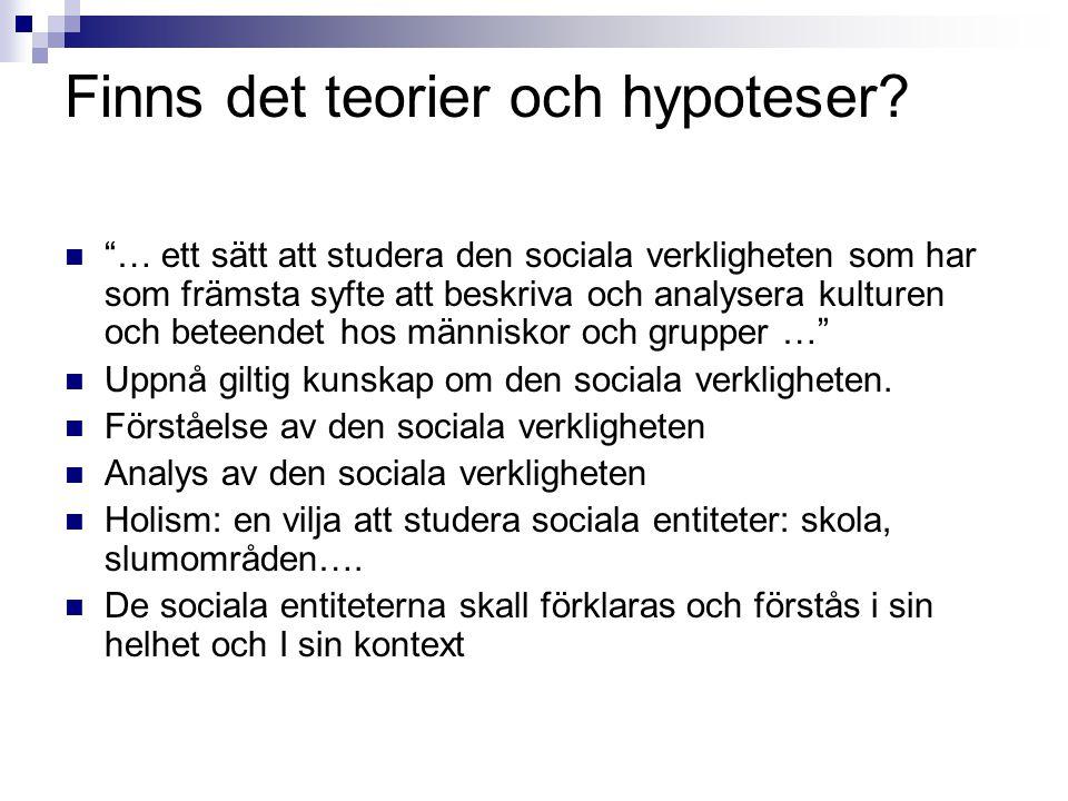 """Finns det teorier och hypoteser?  """"… ett sätt att studera den sociala verkligheten som har som främsta syfte att beskriva och analysera kulturen och"""