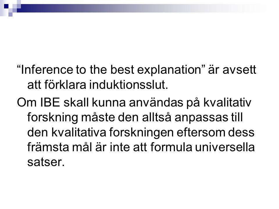 """""""Inference to the best explanation"""" är avsett att förklara induktionsslut. Om IBE skall kunna användas på kvalitativ forskning måste den alltså anpass"""