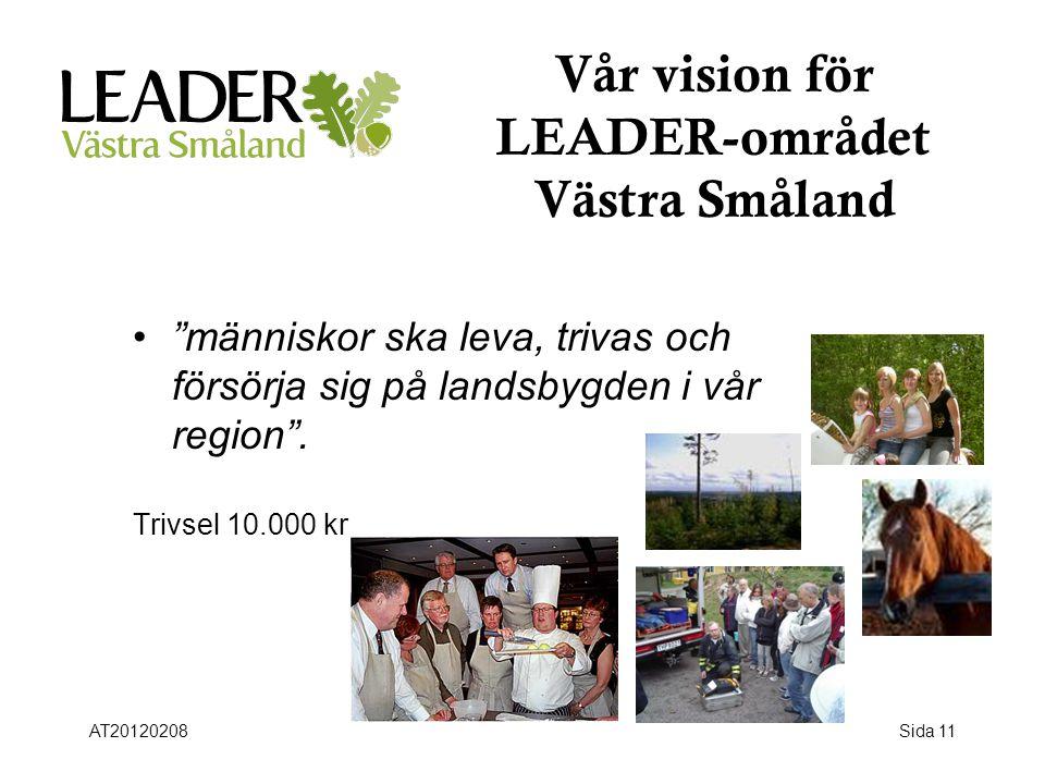 """Sida 11 Vår vision för LEADER-området Västra Småland •""""•""""människor ska leva, trivas och försörja sig på landsbygden i vår region"""". Trivsel 10.000 kr A"""
