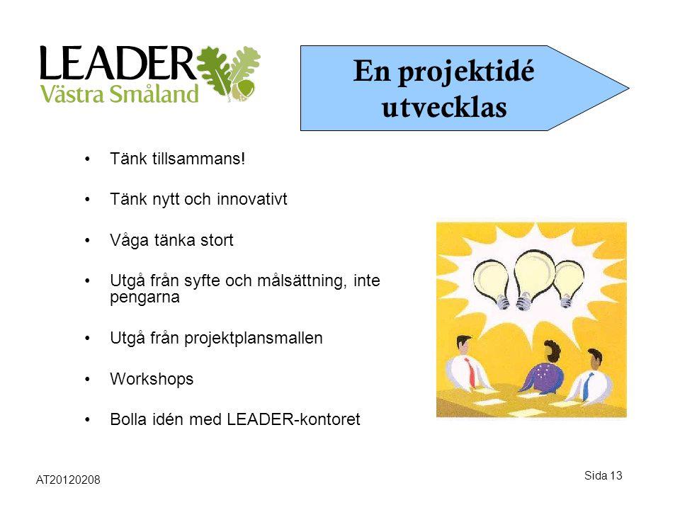 Sida 13 •Tänk tillsammans! •Tänk nytt och innovativt •Våga tänka stort •Utgå från syfte och målsättning, inte pengarna •Utgå från projektplansmallen •