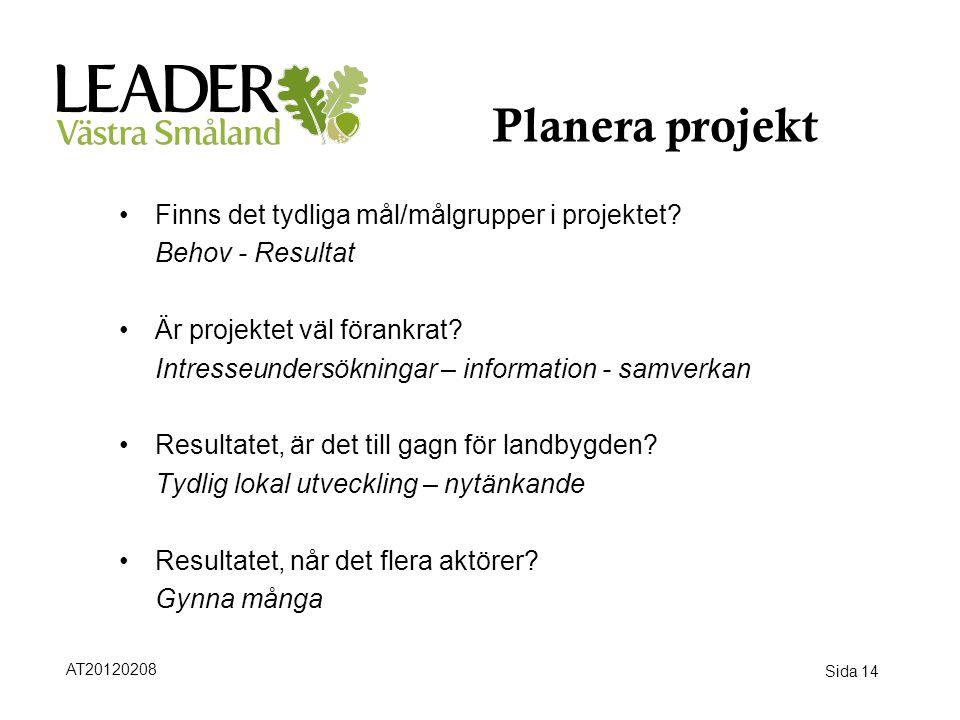 Sida 14 Planera projekt •Finns det tydliga mål/målgrupper i projektet? Behov - Resultat •Är projektet väl förankrat? Intresseundersökningar – informat