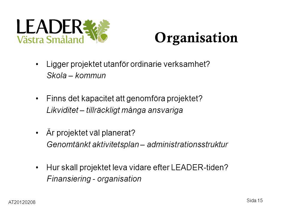 Sida 15 Organisation •Ligger projektet utanför ordinarie verksamhet? Skola – kommun •Finns det kapacitet att genomföra projektet? Likviditet – tillräc