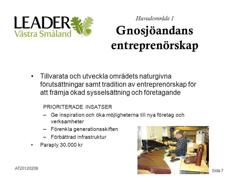 Sida 7 Huvudområde 1 Gnosjöandans entreprenörskap •Tillvarata och utveckla områdets naturgivna förutsättningar samt tradition av entreprenörskap för a