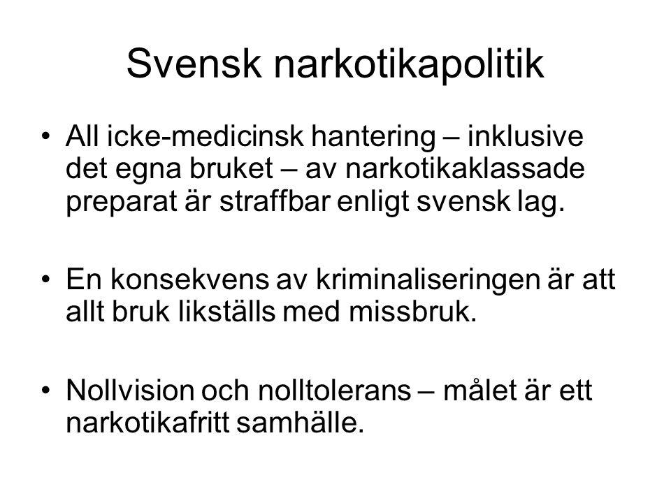 Svensk narkotikapolitik •All icke-medicinsk hantering – inklusive det egna bruket – av narkotikaklassade preparat är straffbar enligt svensk lag. •En