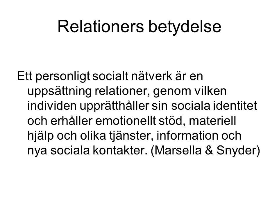 Relationers betydelse Ett personligt socialt nätverk är en uppsättning relationer, genom vilken individen upprätthåller sin sociala identitet och erhå