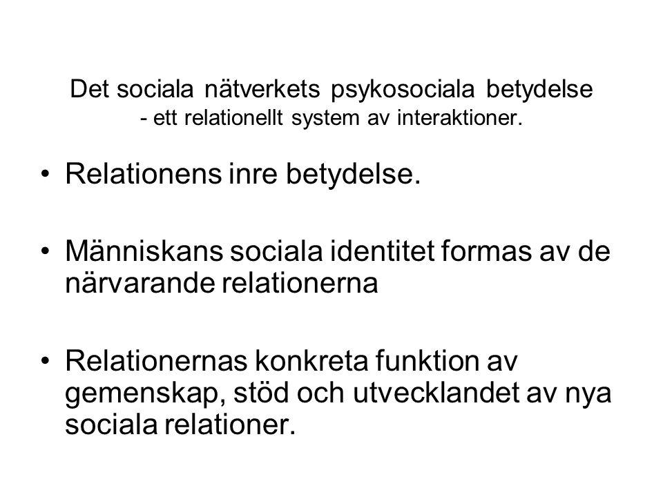 Det sociala nätverkets psykosociala betydelse - ett relationellt system av interaktioner. •Relationens inre betydelse. •Människans sociala identitet f