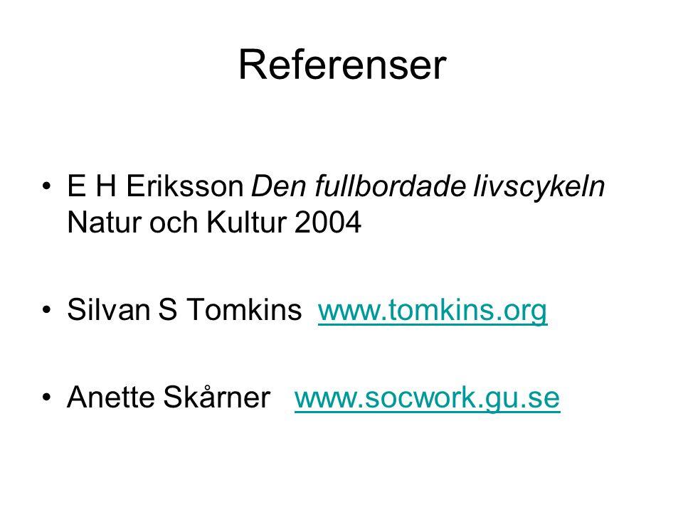 Referenser •E H Eriksson Den fullbordade livscykeln Natur och Kultur 2004 •Silvan S Tomkins www.tomkins.orgwww.tomkins.org •Anette Skårner www.socwork