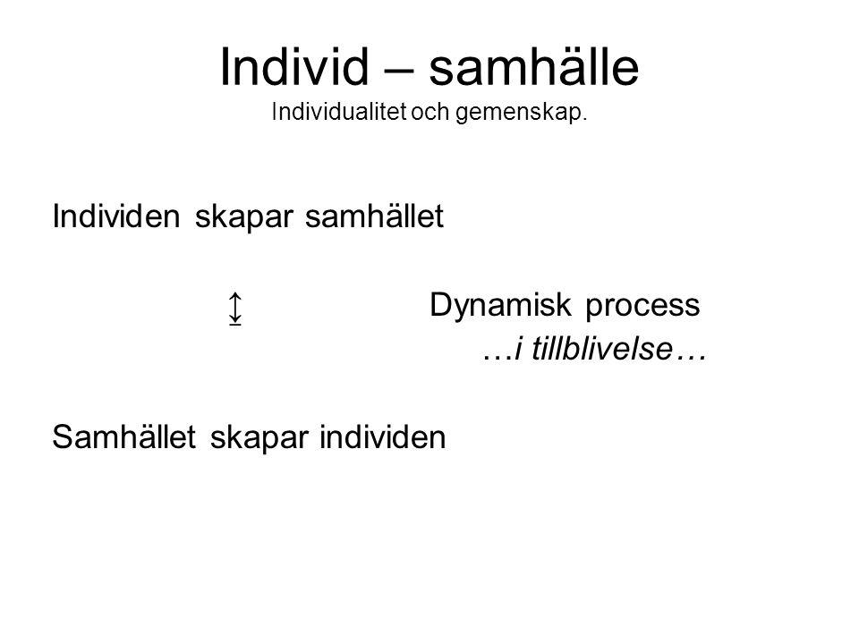Individ – samhälle Individualitet och gemenskap. Individen skapar samhället ↨ Dynamisk process …i tillblivelse… Samhället skapar individen