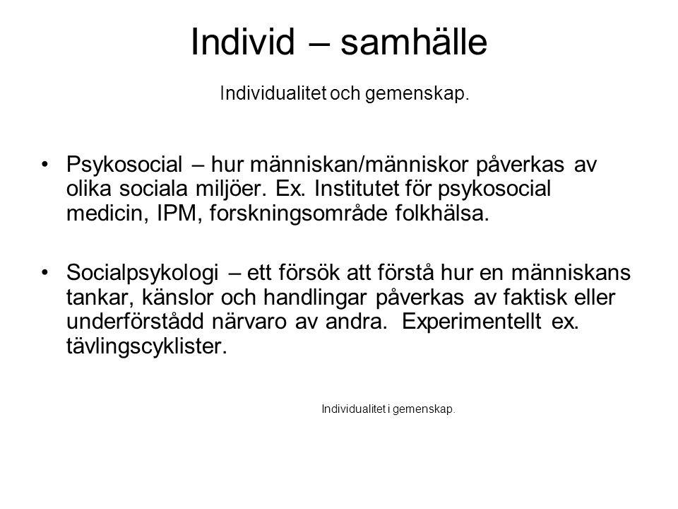 Individ – samhälle Individualitet och gemenskap. •Psykosocial – hur människan/människor påverkas av olika sociala miljöer. Ex. Institutet för psykosoc