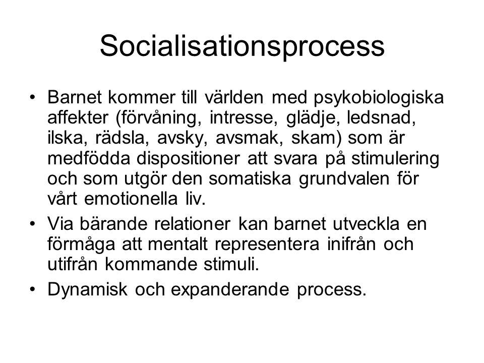 Socialisationsprocess •Barnet kommer till världen med psykobiologiska affekter (förvåning, intresse, glädje, ledsnad, ilska, rädsla, avsky, avsmak, sk