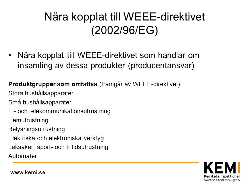 Nära kopplat till WEEE-direktivet (2002/96/EG) •Nära kopplat till WEEE-direktivet som handlar om insamling av dessa produkter (producentansvar) Produktgrupper som omfattas (framgår av WEEE-direktivet) Stora hushållsapparater Små hushållsapparater IT- och telekommunikationsutrustning Hemutrustning Belysningsutrustning Elektriska och elektroniska verktyg Leksaker, sport- och fritidsutrustning Automater www.kemi.se