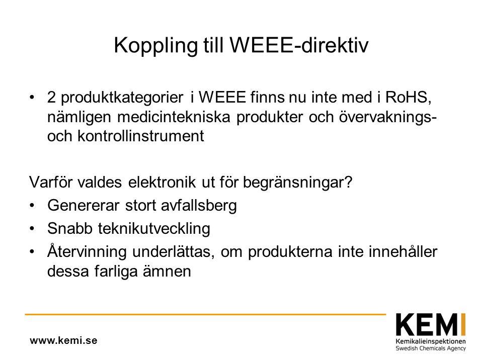Koppling till WEEE-direktiv •2 produktkategorier i WEEE finns nu inte med i RoHS, nämligen medicintekniska produkter och övervaknings- och kontrollinstrument Varför valdes elektronik ut för begränsningar.