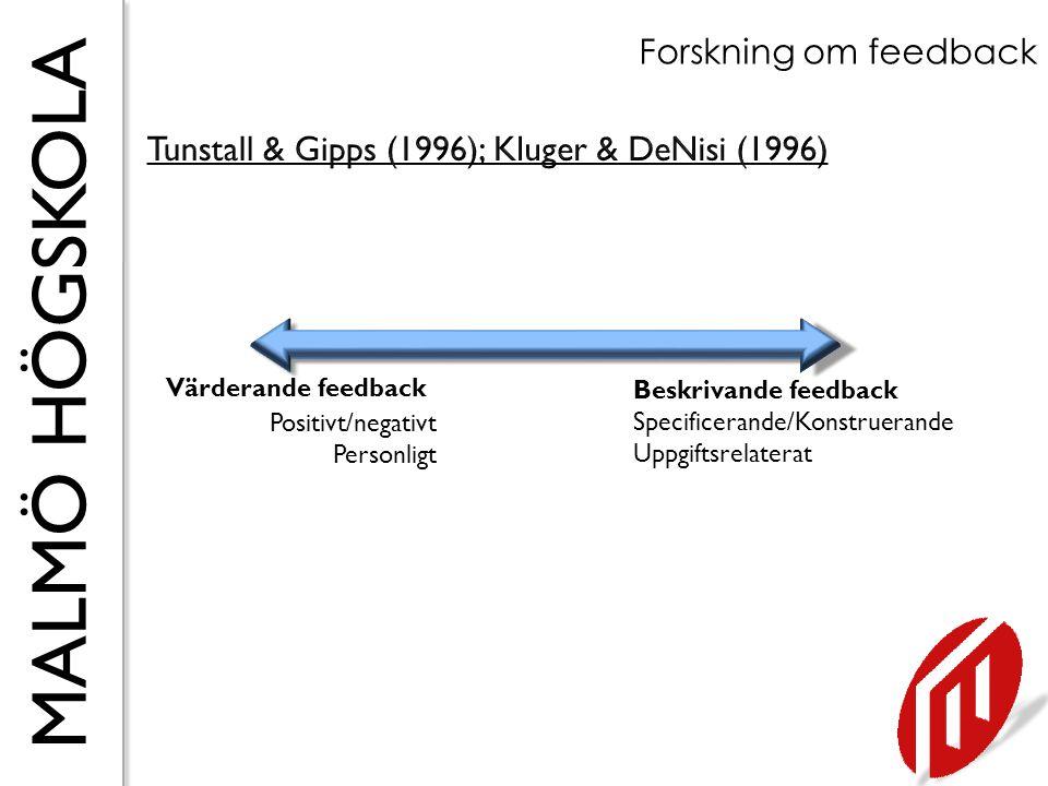 MALMÖ HÖGSKOLA Forskning om feedback Värderande feedback Positivt/negativt Personligt Beskrivande feedback Specificerande/Konstruerande Uppgiftsrelate