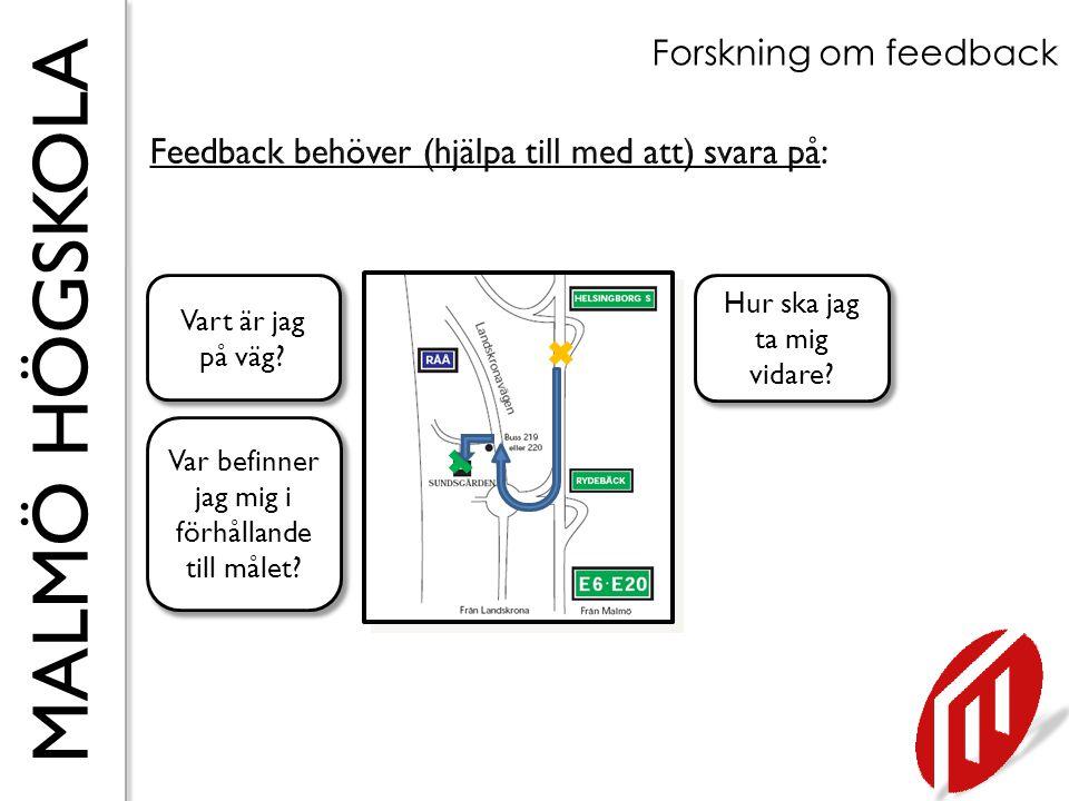 MALMÖ HÖGSKOLA Forskning om feedback Vart är jag på väg? Var befinner jag mig i förhållande till målet? Hur ska jag ta mig vidare?  