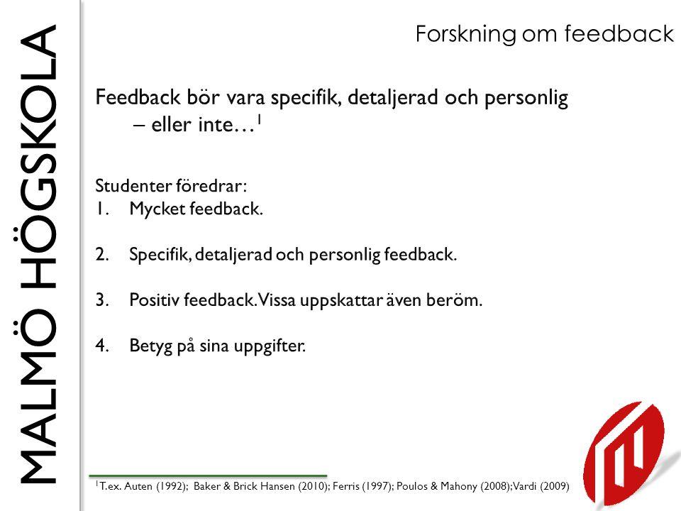 MALMÖ HÖGSKOLA Forskning om feedback 1 T.ex. Auten (1992); Baker & Brick Hansen (2010); Ferris (1997); Poulos & Mahony (2008); Vardi (2009)
