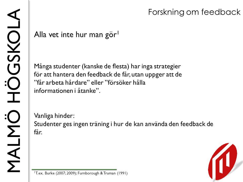 MALMÖ HÖGSKOLA Forskning om feedback 1 T.ex. Burke (2007; 2009); Furnborough & Truman (1991)