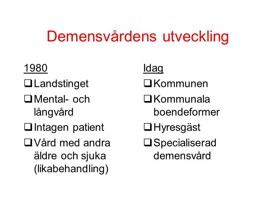 Demensvårdens utveckling 1980 qLandstinget qMental- och långvård qIntagen patient qVård med andra äldre och sjuka (likabehandling) Idag  Kommunen  K