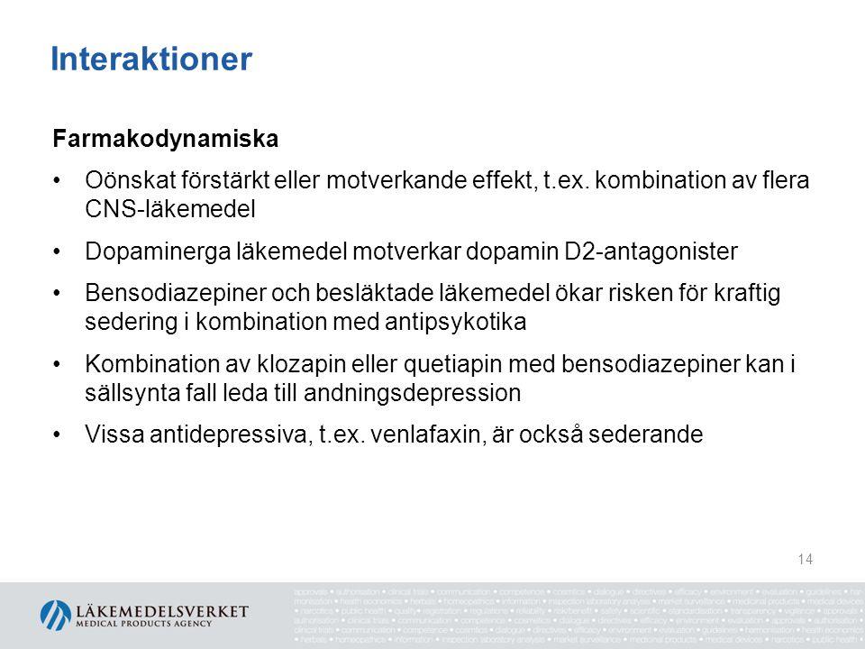 Interaktioner Farmakodynamiska •Oönskat förstärkt eller motverkande effekt, t.ex. kombination av flera CNS-läkemedel •Dopaminerga läkemedel motverkar