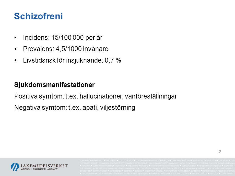 Schizofreni •Incidens: 15/100 000 per år •Prevalens: 4,5/1000 invånare •Livstidsrisk för insjuknande: 0,7 % Sjukdomsmanifestationer Positiva symtom: t