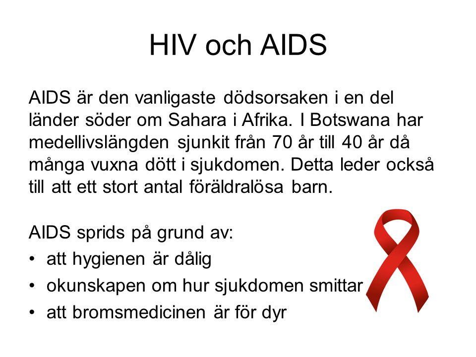 HIV och AIDS AIDS är den vanligaste dödsorsaken i en del länder söder om Sahara i Afrika.