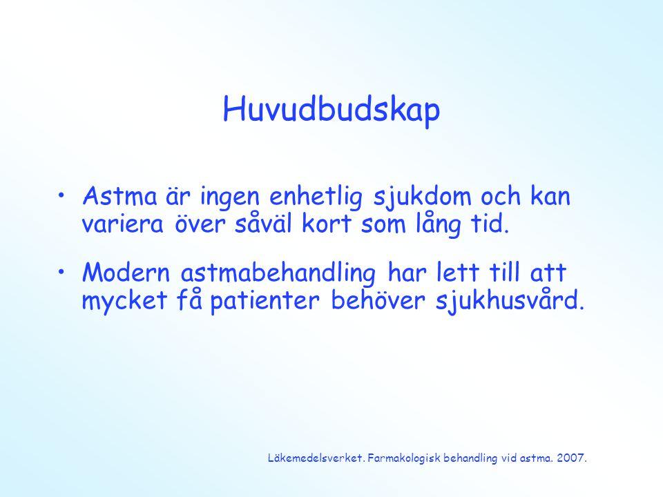 Huvudbudskap •Astma är ingen enhetlig sjukdom och kan variera över såväl kort som lång tid. •Modern astmabehandling har lett till att mycket få patien