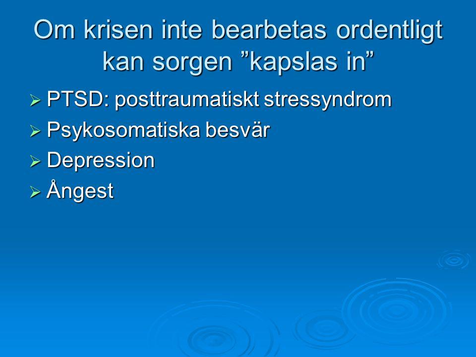 """Om krisen inte bearbetas ordentligt kan sorgen """"kapslas in""""  PTSD: posttraumatiskt stressyndrom  Psykosomatiska besvär  Depression  Ångest"""