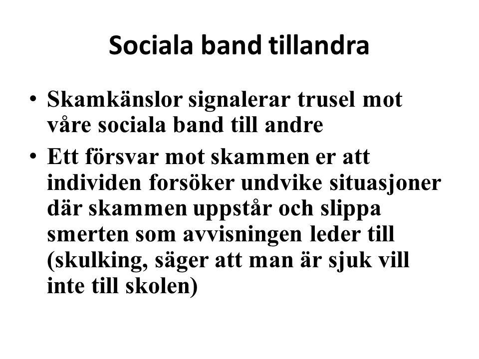 Sociala band tillandra • Skamkänslor signalerar trusel mot våre sociala band till andre • Ett försvar mot skammen er att individen forsöker undvike si