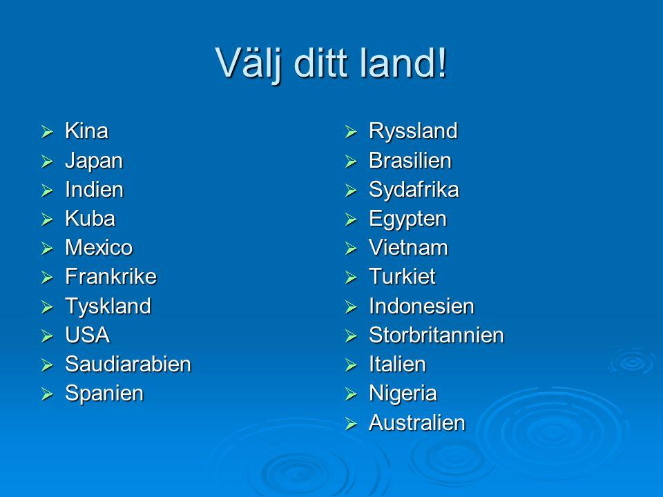 Välj ditt land!  Kina  Japan  Indien  Kuba  Mexico  Frankrike  Tyskland  USA  Saudiarabien  Spanien  Ryssland  Brasilien  Sydafrika  Egy