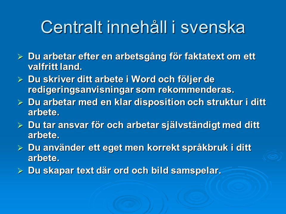 Centralt innehåll i svenska  Du arbetar efter en arbetsgång för faktatext om ett valfritt land.  Du skriver ditt arbete i Word och följer de rediger