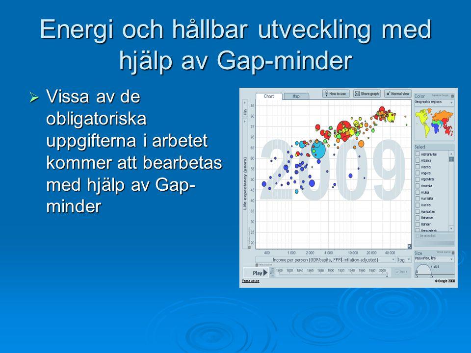 Energi och hållbar utveckling med hjälp av Gap-minder  Vissa av de obligatoriska uppgifterna i arbetet kommer att bearbetas med hjälp av Gap- minder