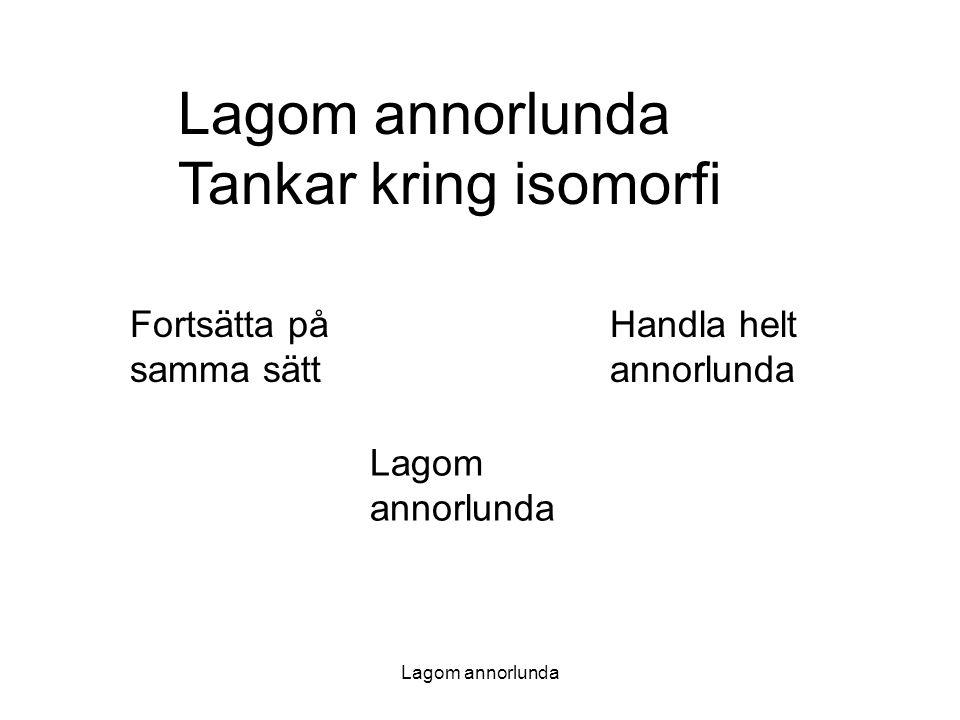 Lagom annorlunda Lagom annorlunda Tankar kring isomorfi Fortsätta på samma sätt Handla helt annorlunda Lagom annorlunda