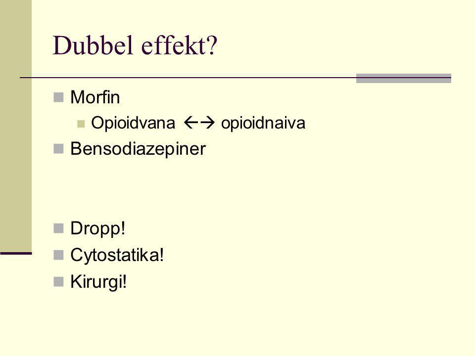 Dubbel effekt?  Morfin  Opioidvana  opioidnaiva  Bensodiazepiner  Dropp!  Cytostatika!  Kirurgi!