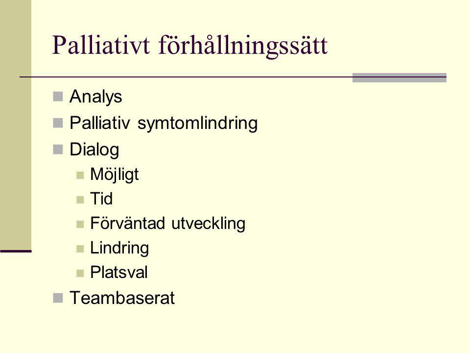 Palliativt förhållningssätt  Analys  Palliativ symtomlindring  Dialog  Möjligt  Tid  Förväntad utveckling  Lindring  Platsval  Teambaserat