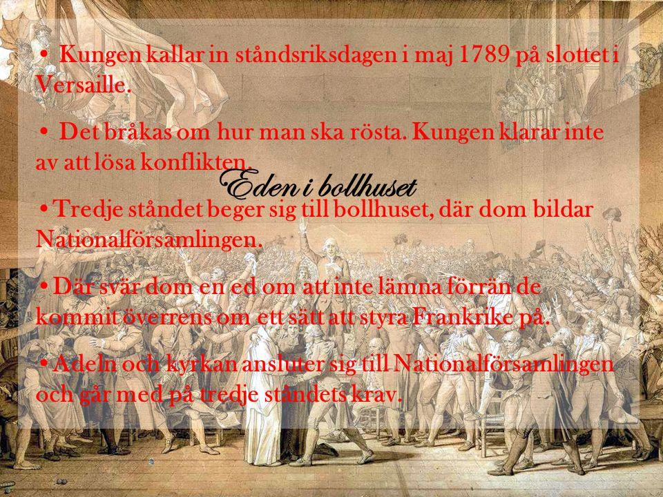 • Kungen kallar in ståndsriksdagen i maj 1789 på slottet i Versaille.