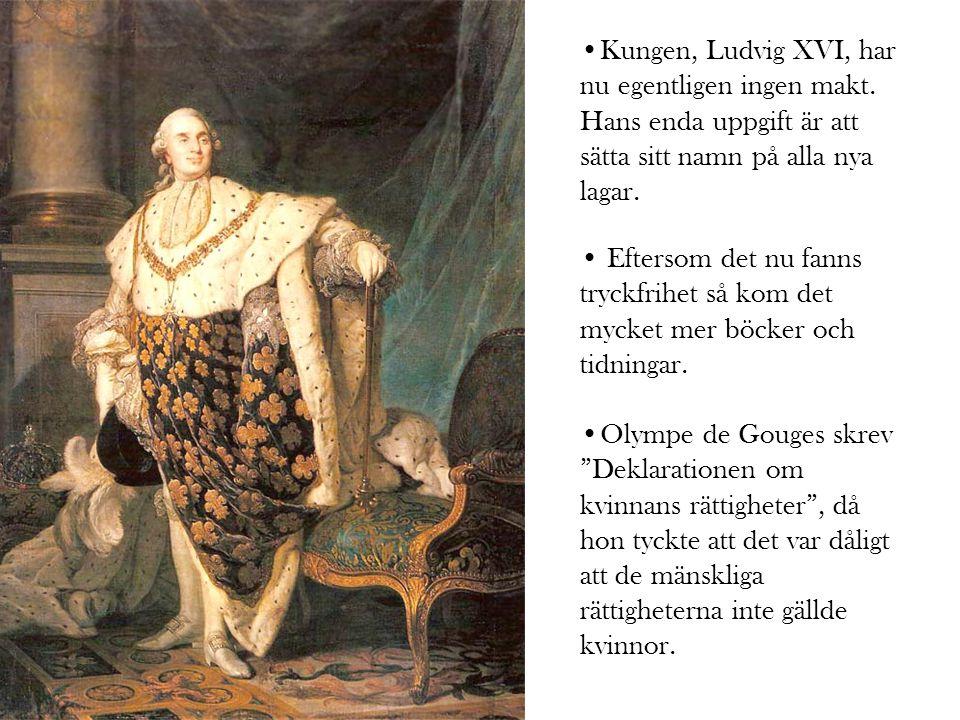 •Kungen, Ludvig XVI, har nu egentligen ingen makt.