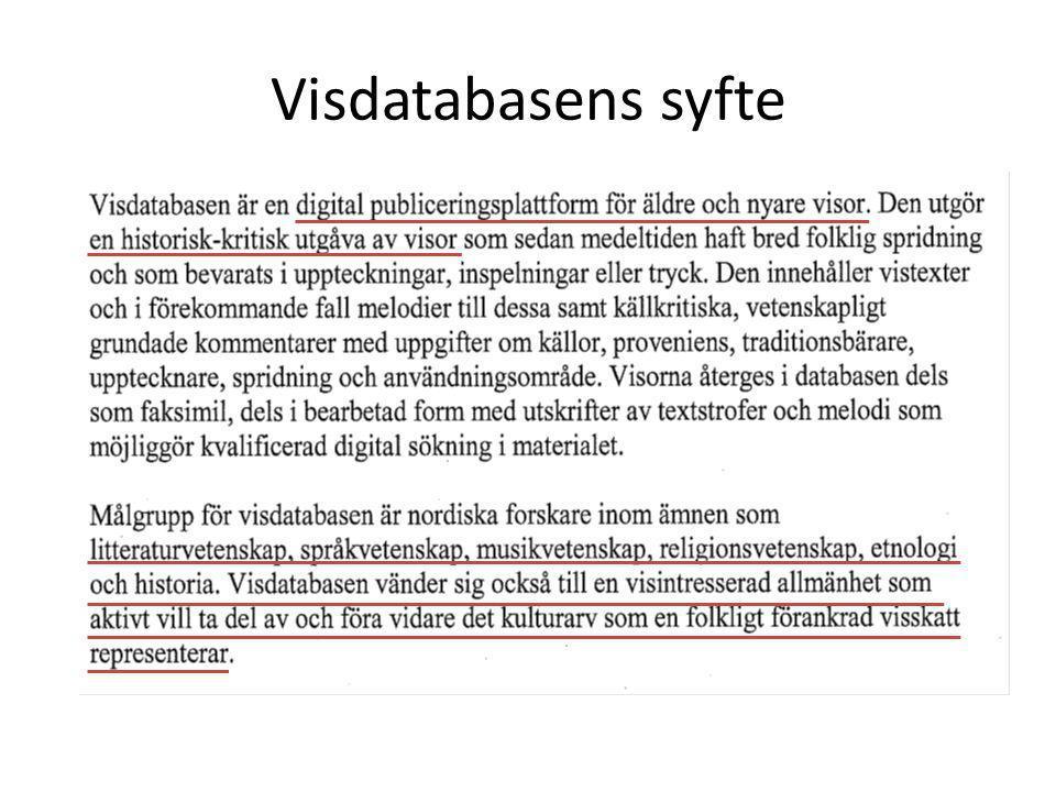 Visdatabasens syfte