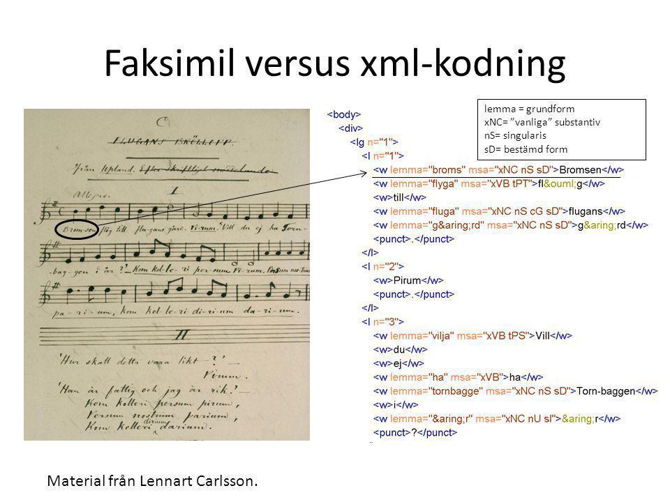 """Faksimil versus xml-kodning Material från Lennart Carlsson. lemma = grundform xNC= """"vanliga"""" substantiv nS= singularis sD= bestämd form"""