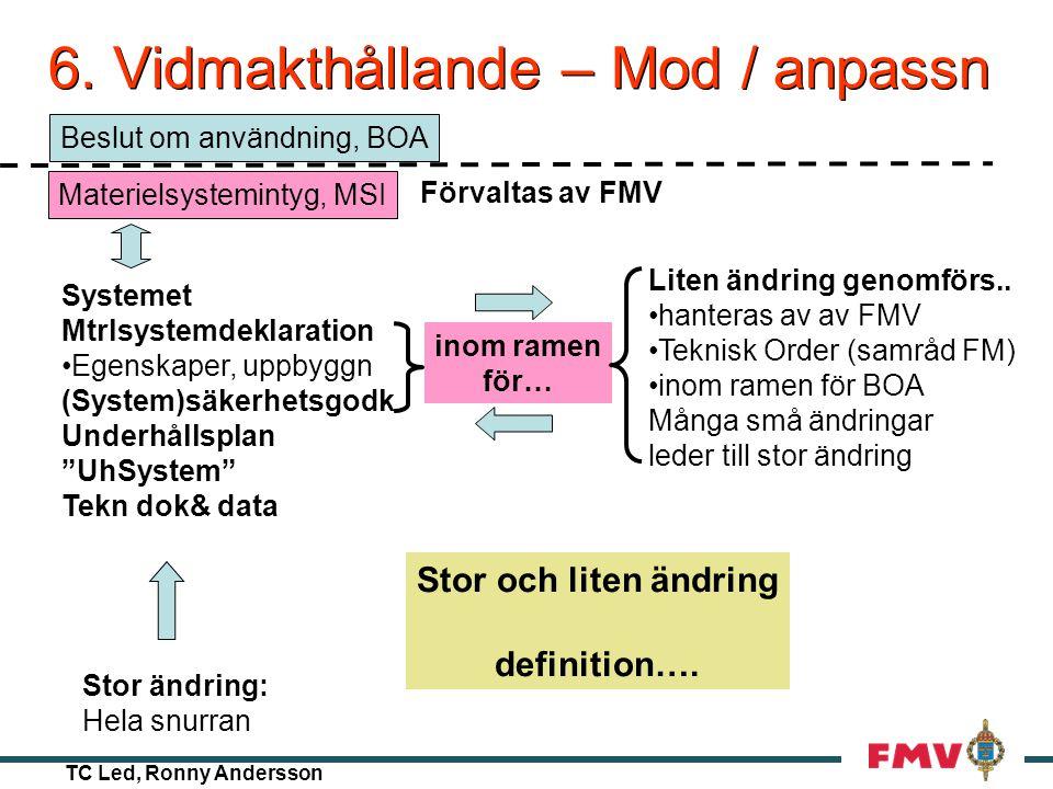 TC Led, Ronny Andersson 5. Beslut om användning Aktörerna - FM KravställarenKRI (TeK ÄFR) AnvändarenGRO, OPIL TillsynsansvInspektion UnderhållsorgFM L